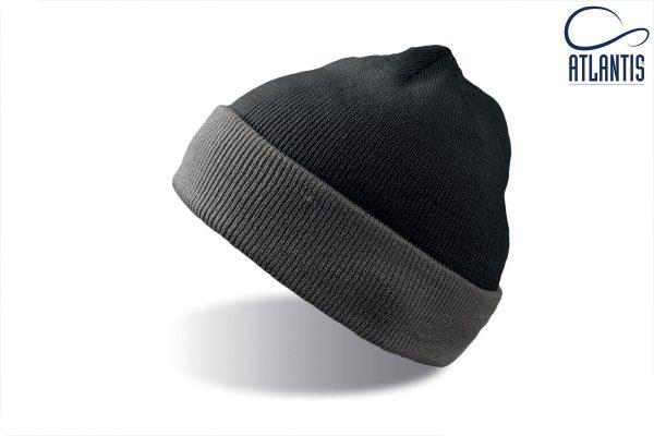 zimska kapa wind crno siva