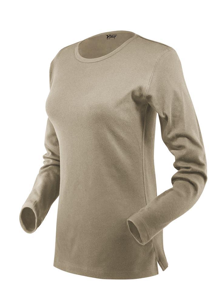 ženska t majica dolg rokav bež