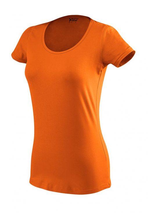 ženska oprijeta t majica kratek rokav oranžna