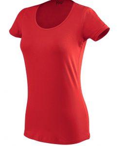 ženska oprijeta t majica kratek rokav rdeča
