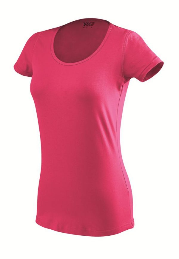 ženska oprijeta t majica kratek rokav temno roza