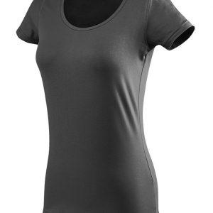 ženska oprijeta t majica kratek rokav temno siva