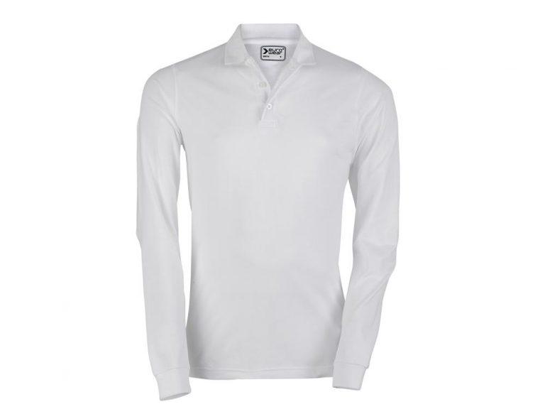 moška polo majica dolg rokav bela