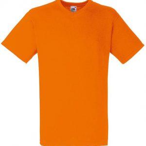 Value weight t-majica z V izrezom oranžna