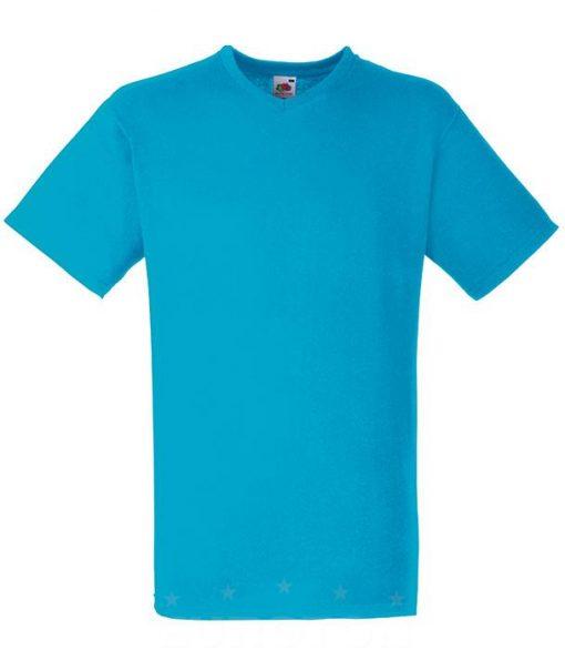 Value weight t-majica z V izrezom azurno modra