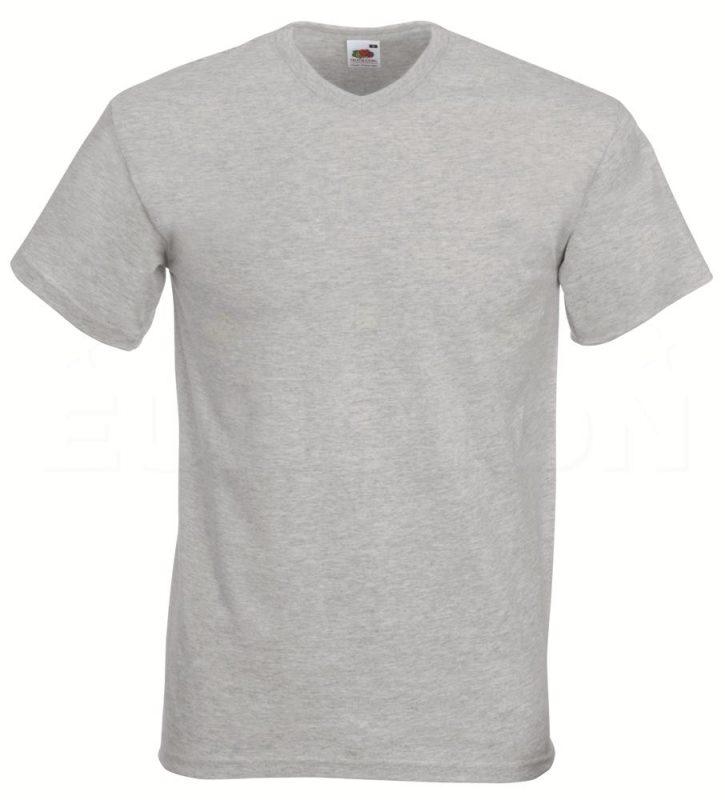 Value weight t-majica z V izrezom lisasto siva