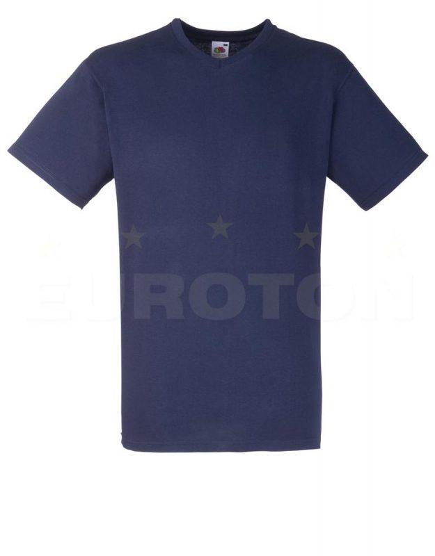 Value weight t-majica z V izrezom temno modra